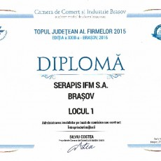 Diploma Topul Judetean al Firmelor 2015